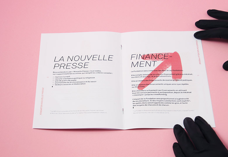 Ludivine Cornaglia: Layout of the brochure for the Fondation Nouvelle Presse