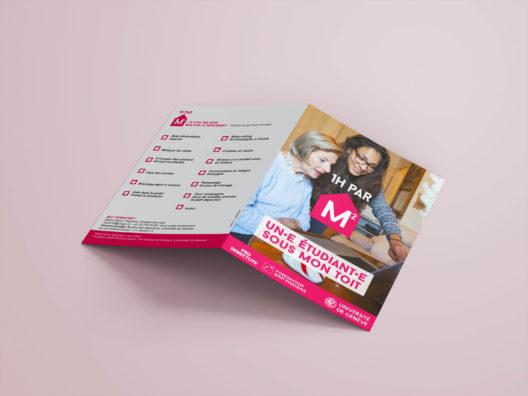 Première et quatrième de couverture du flyer pour 1h par m2, programme de logement de l'Université de Genève. Initiative soutenue par Pro Senectute et la Fondation BNP Paribas.