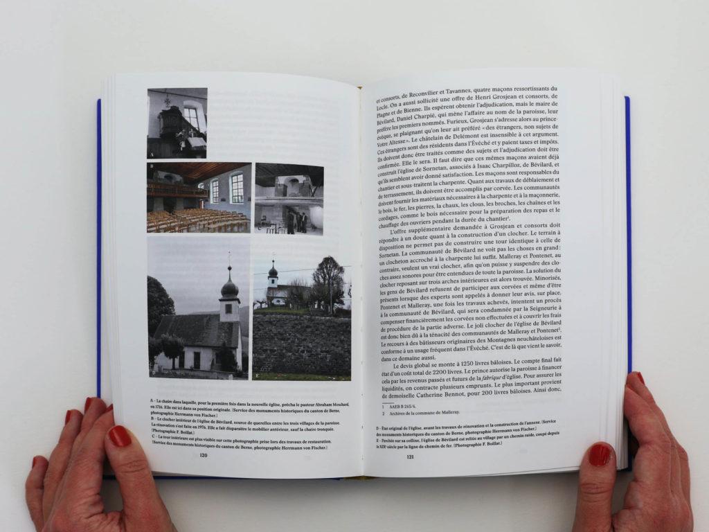 Double page du livre Bévilard dans l'Histoire à propos de l'église de Bévilard