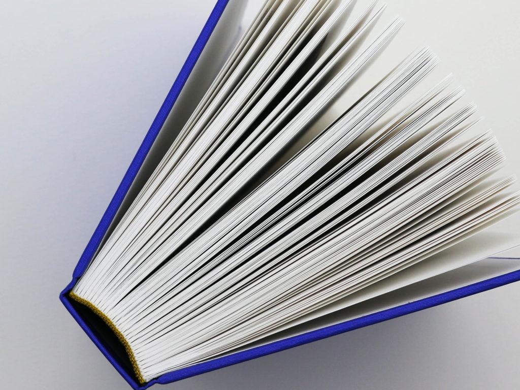 Dos carré à reliure cousue de l'ouvrage Bévilard dans l'Histoire. Reliure au fil blanc et au fil de couleur or.