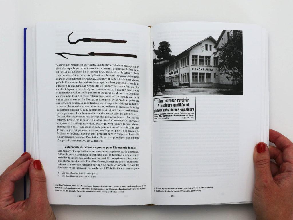 Double page du manuel Bévilard dans l'Histoire avec une mise en page mêlant texte et images.