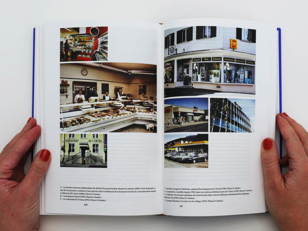 Double page du livre Bévilard dans l'Histoire comportant une grille de photographies. Les images représentent divers commerces de la commune de Bévilard.