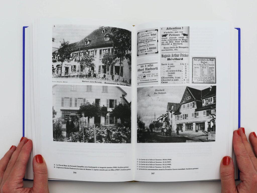 Double page du livre Bévilard dans l'Histoire comportant une grille de photographies. Les images représentent le Cheval Blanc et l'épicerie de la commune de Bévilard.