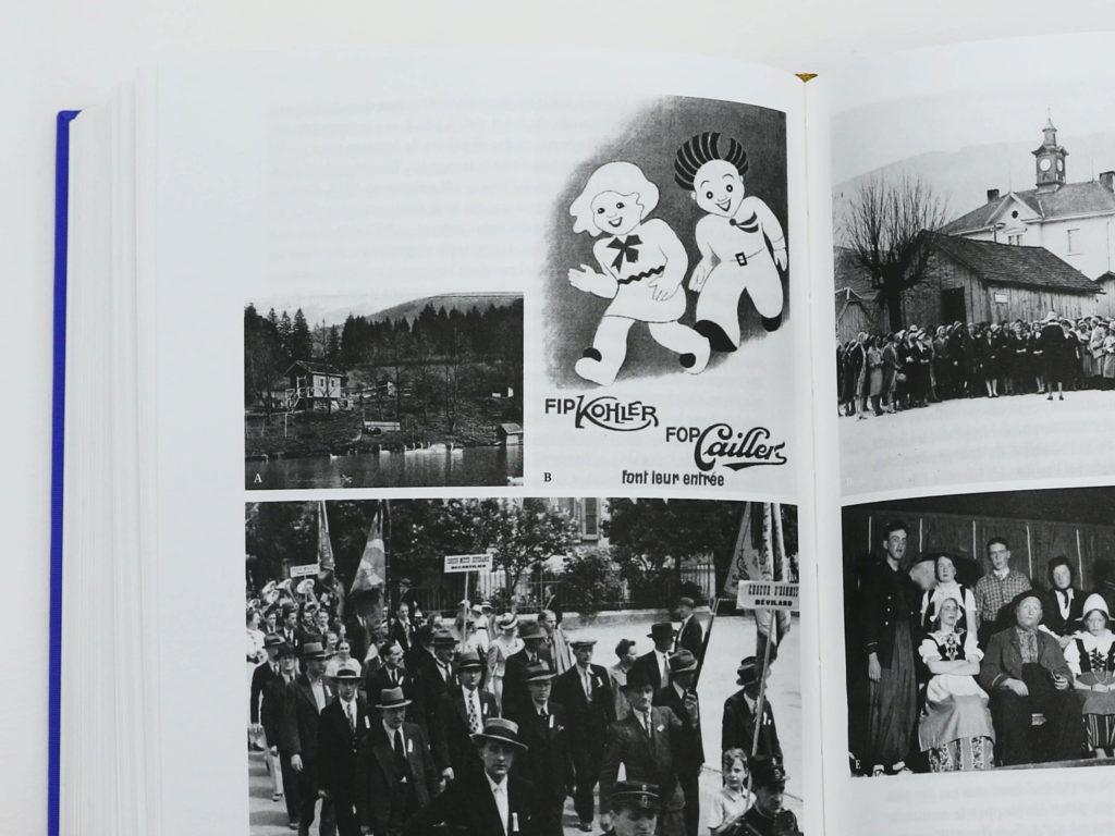 Photographies d'archives issues du livre Bévilard dans l'Histoire: marche ouvrière et publicité d'époque pour Kohler et Cailler.