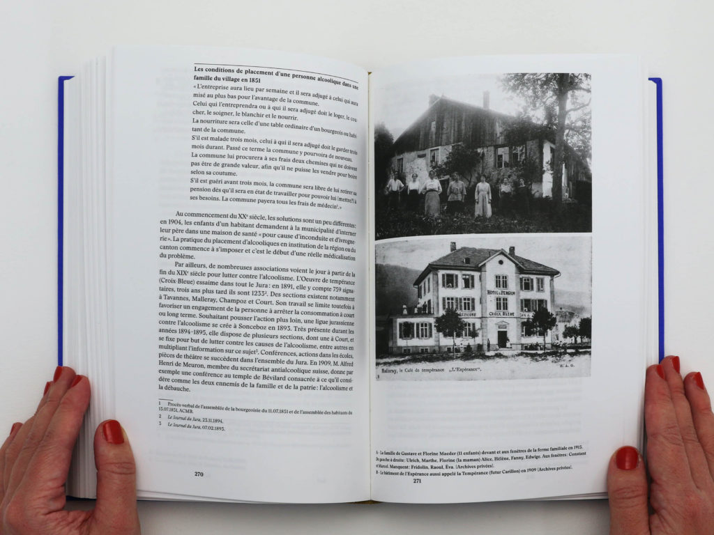 Double page sur l'histoire de l'action sociale de Bévilard: écoles, associations, prévention de l'alccolisme.