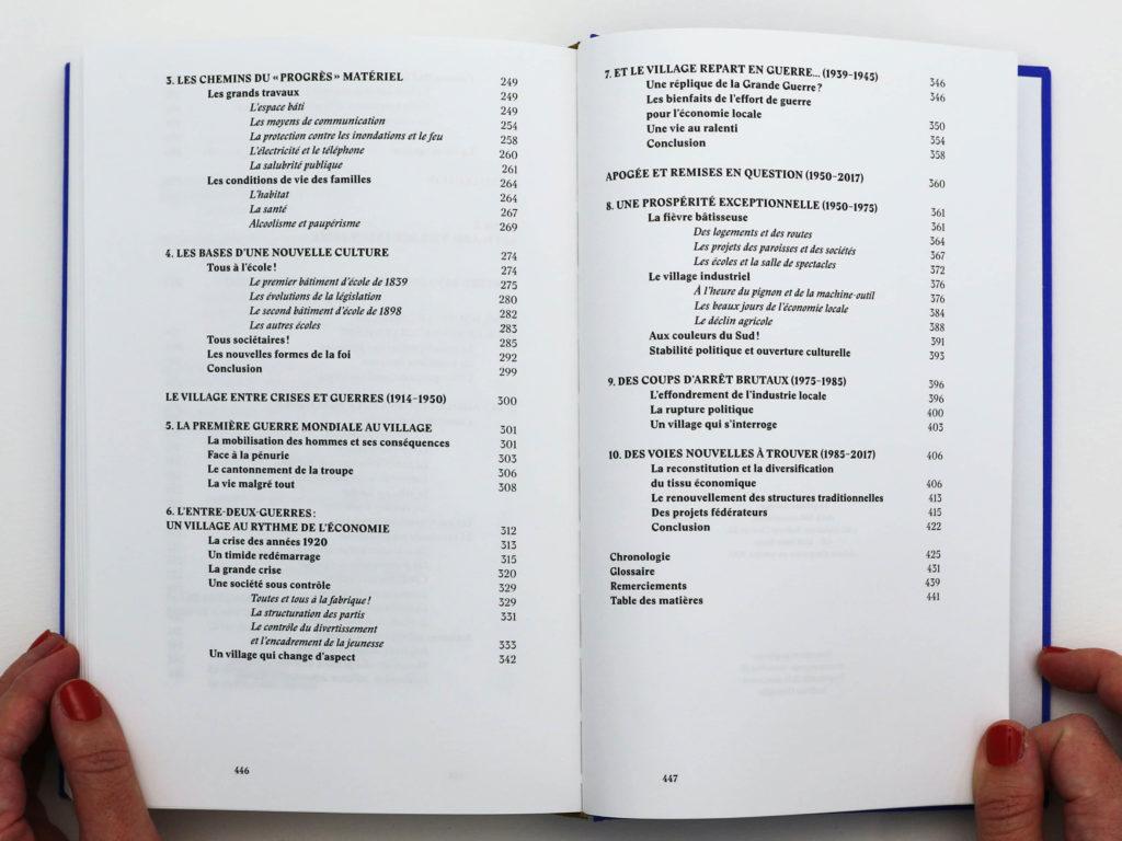 Table des matières du livre Bévilard dans l'Histoire. Hiérarchisation des informations.