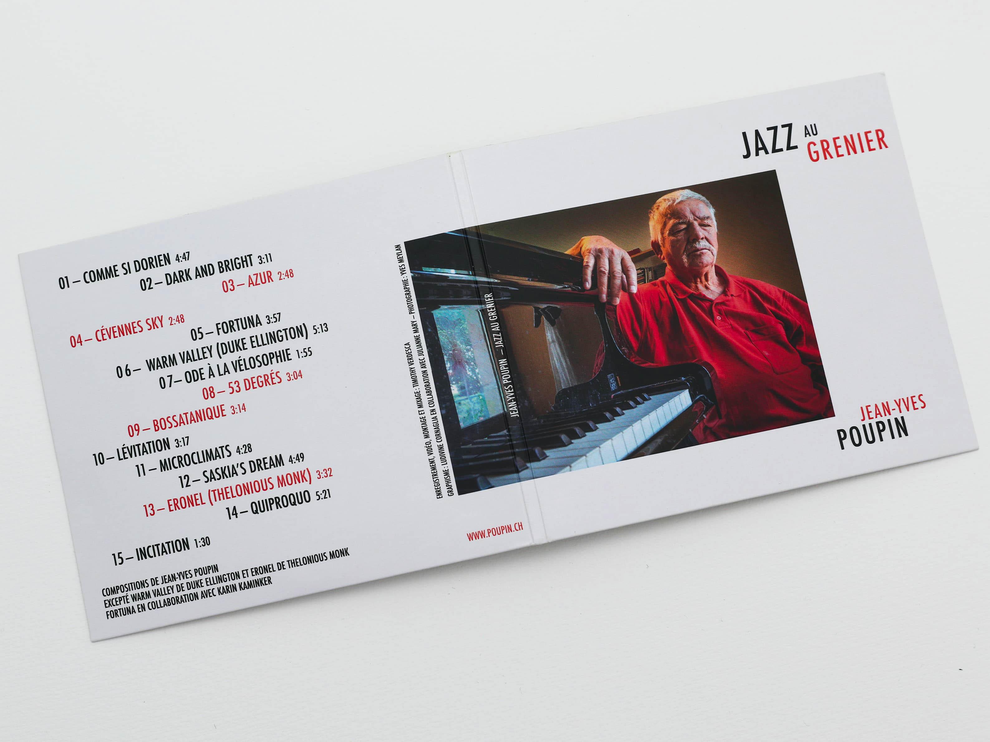 couverture d'album de Jazz au Grenier de Jean-Yves Poupin. Composition avec une photo de Yevs Meylan. Composition typographique