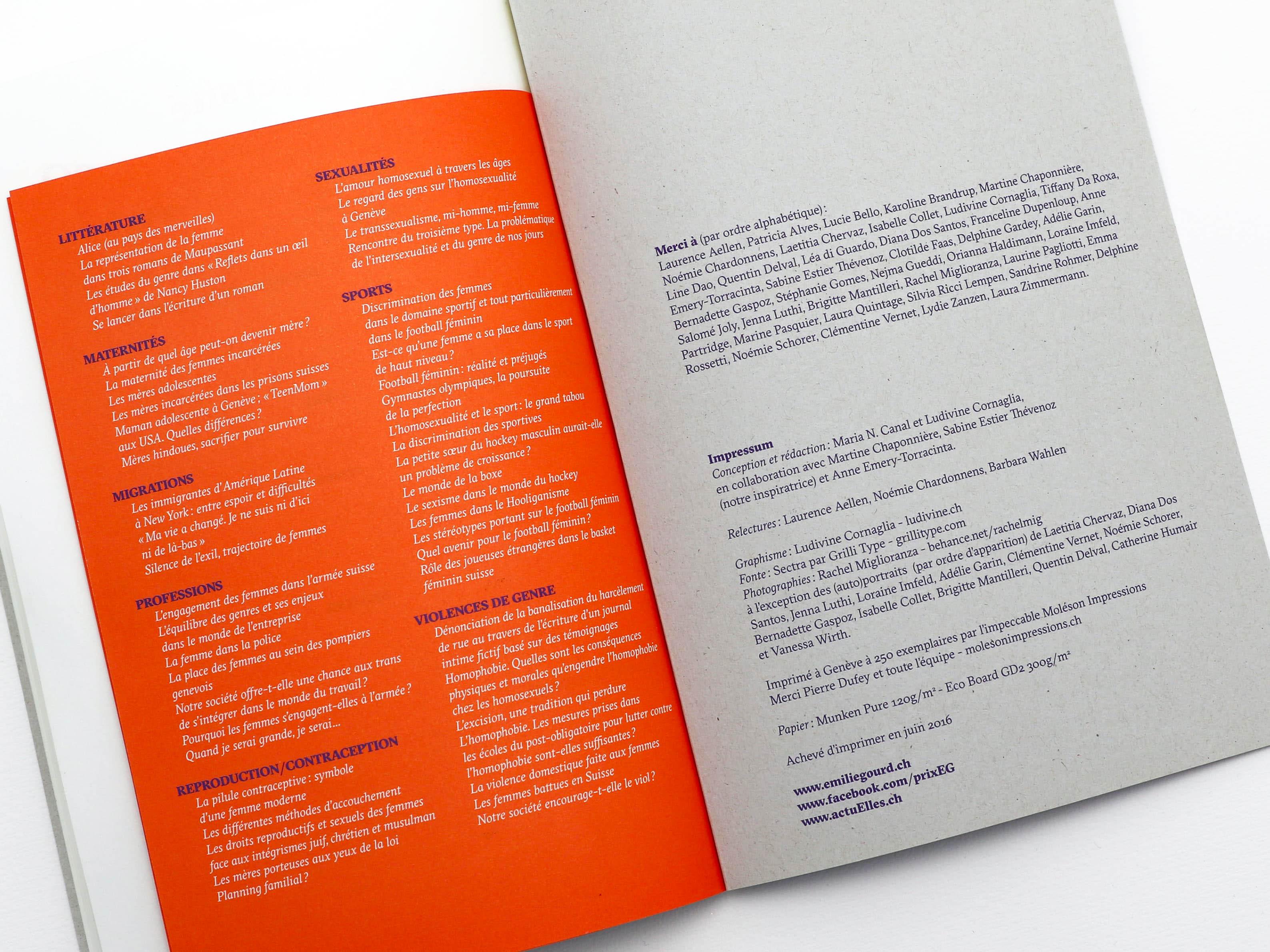 Impressum de la brochure commémorative des 5 ans du Prix Emilie Gourd à genève.
