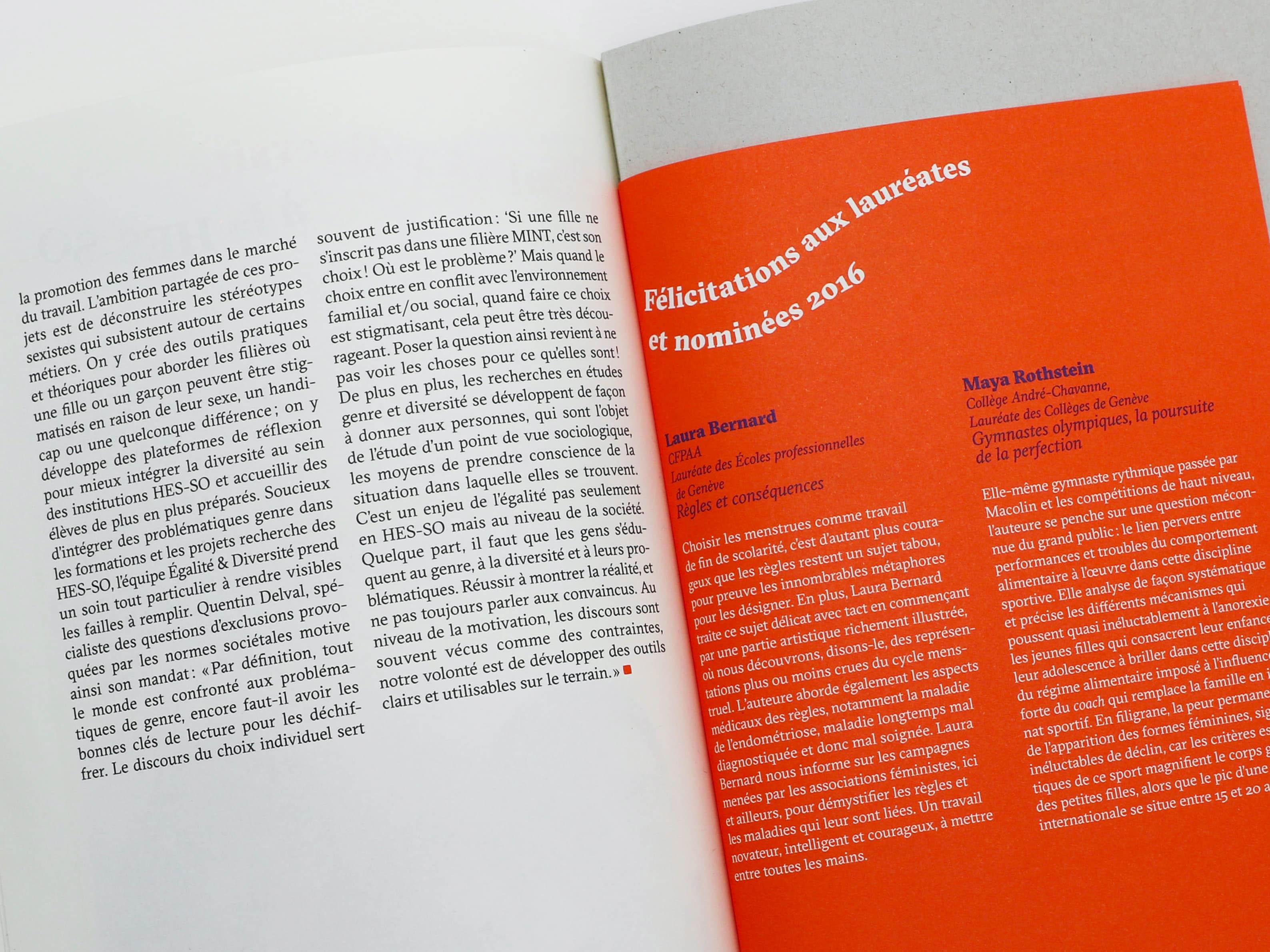 Encart dans la brochure multi-format avec les lauréates et nominées 2016