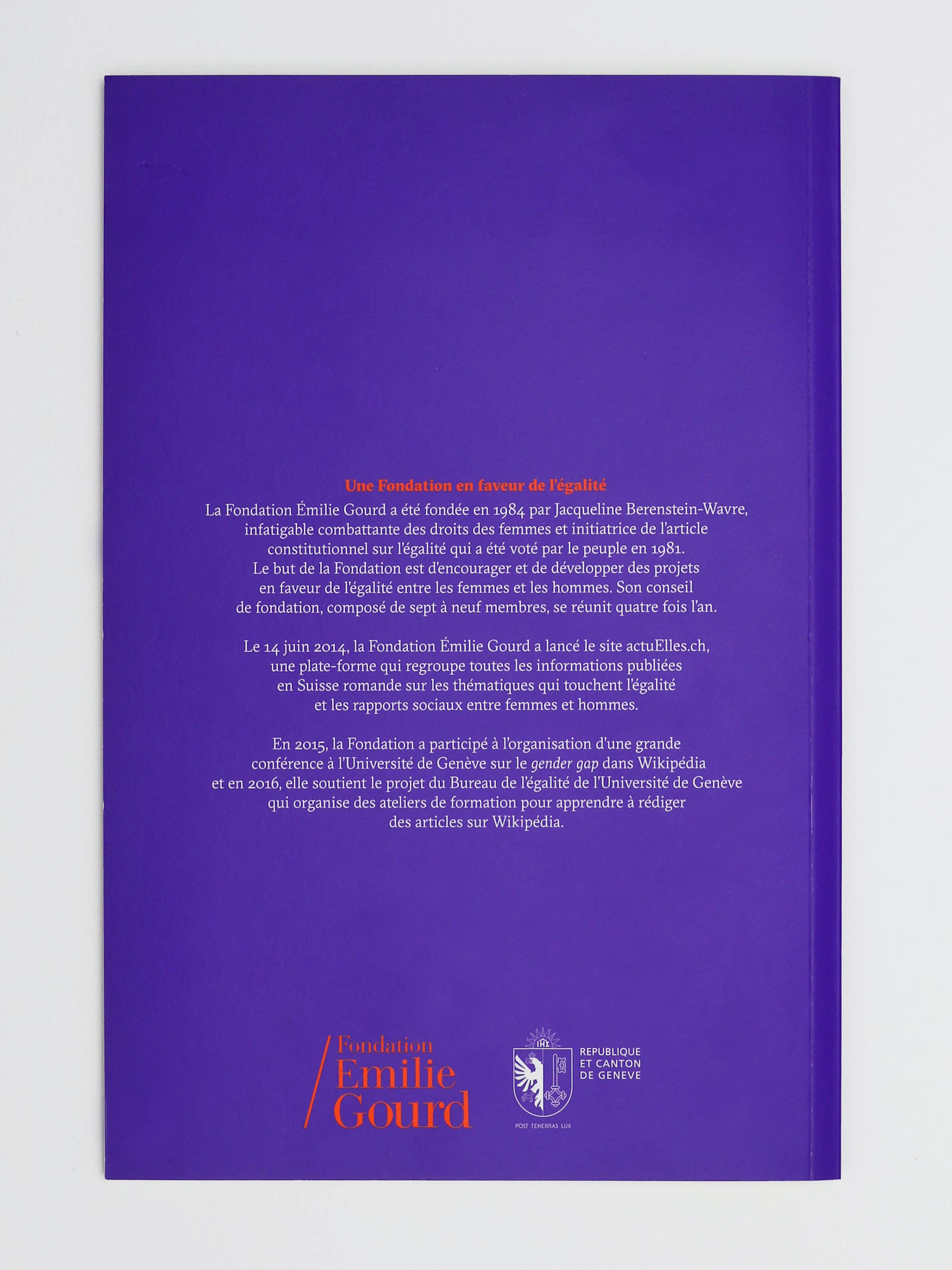 Quatrième de couverture de la brochure commémorative des 5 ans du Prix Emilie Gourd avec les logos de la Fondation Emilie Gourd et de la Republique et Canton de Genève