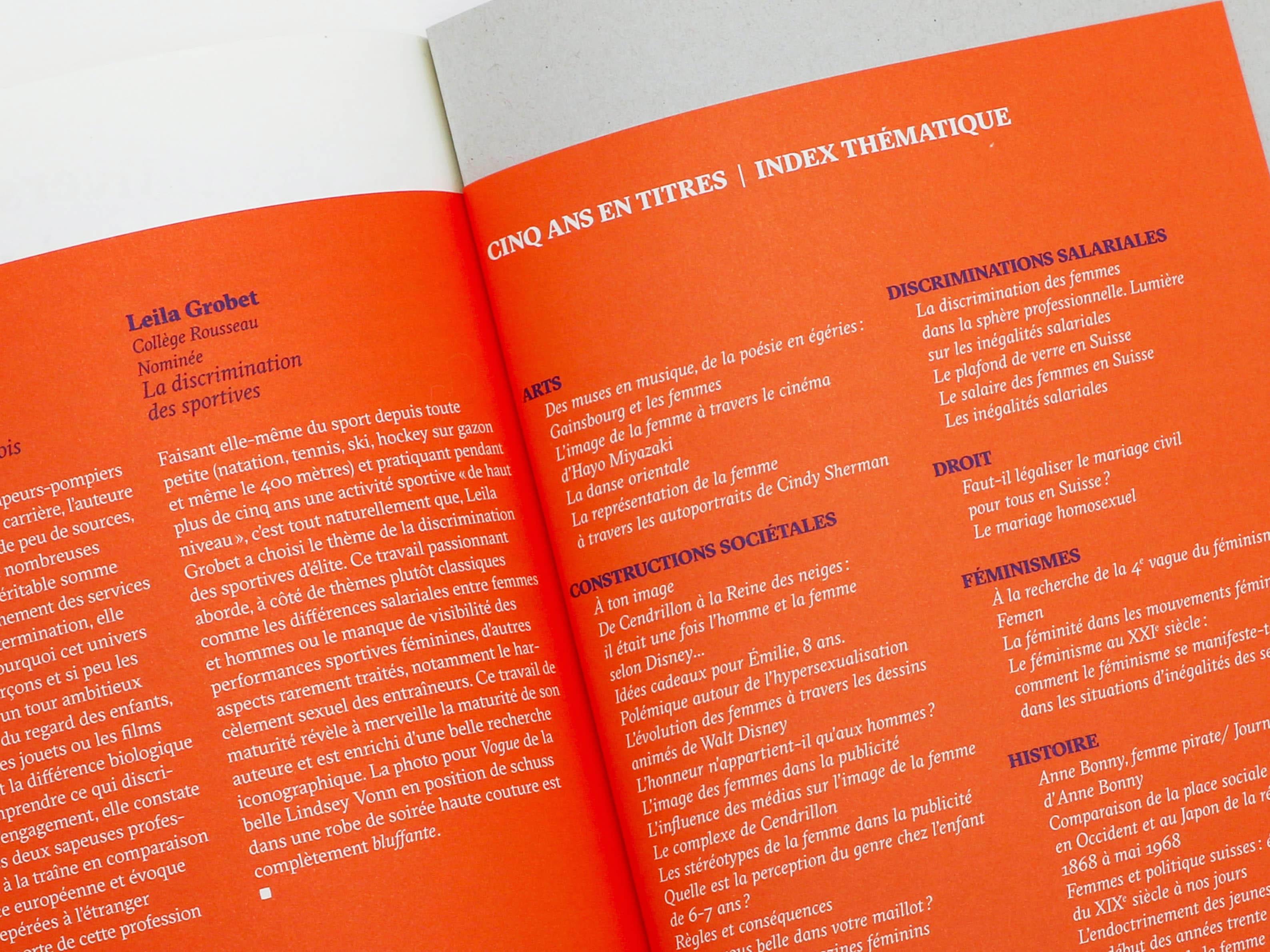 Index thématique des travaux primés et nominés du Prix Emilie Gourd