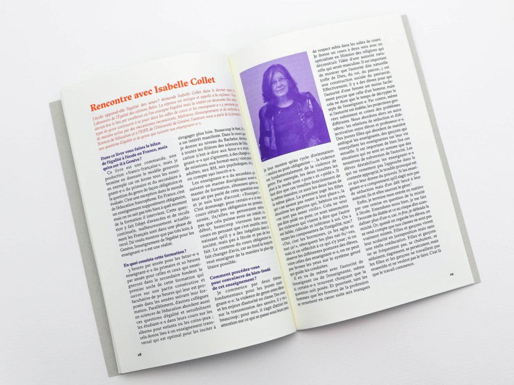 """Interview d'Isabelle Collet au sujet de """"L'école apprend-elle l'égalité des sexes ?"""" dans la brochure commémorative des 5 ans du Prix Emilie Gourd"""