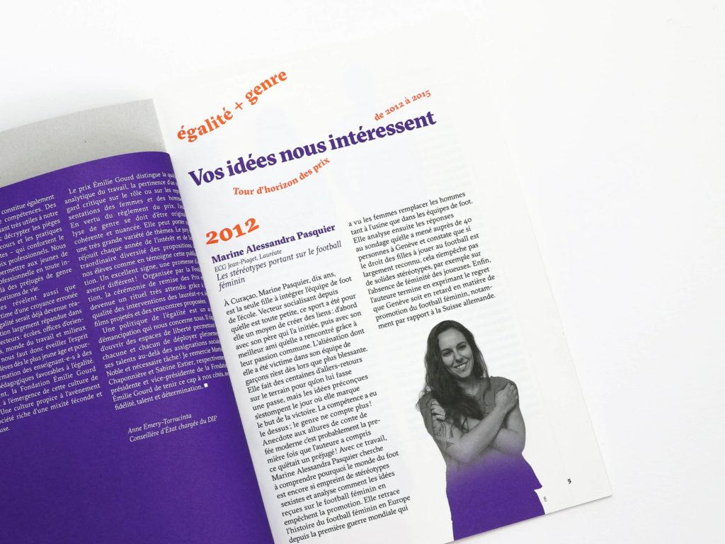 Vos idées nous intéressent, tour d'horizon des prix de 2012 à 2015 — Brochure commémorative du Prix Emilie Gourd - Portrait de Marine Alessandra Pasquier