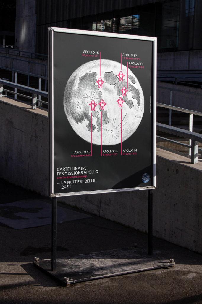 Affiche illustrée des missions Apollo pour La Nuit est Belle 2021 - Société Astronomique de Genève - Ludivine Cornaglia