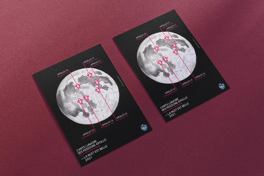 carte lunaire des missions apollo pour La Nuit est Belle 2021 - Société Astronomique de Genève
